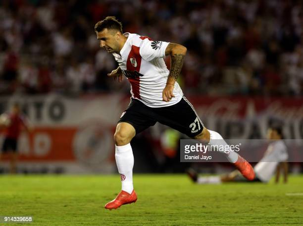Lucas Pratto of River Plate jumps during a match between River Plate and Olimpo as part of Superliga 2017/18 at Estadio Monumental Antonio Vespucio...