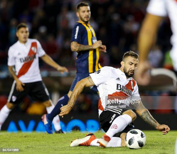 Lucas Pratto of River Plate kicks the ball to score the second goal of his team during a match between River Plate and Rosario Central as part of...