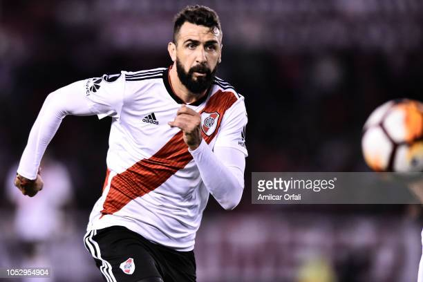 Lucas Pratto of River Plate looks at the ball during the Semi Final firstleg match between River Plate and Gremio as part of Copa CONMEBOL...