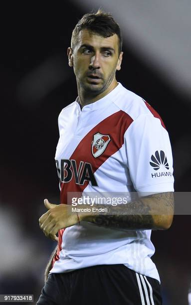 Lucas Pratto of River Plate looks on during a match between Lanus and River Plate as part of the Superliga 2017/18 at Ciudad de Lanus Stadium on...