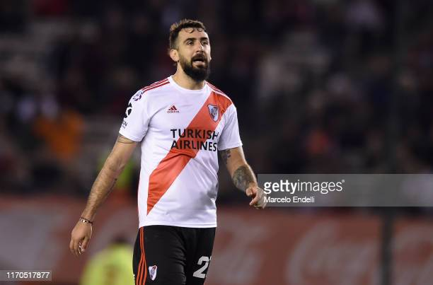 Lucas Pratto of River Plate looks on during a match between River Plate and Talleres as part of Superliga 2019/20 at Estadio Monumental Antonio...