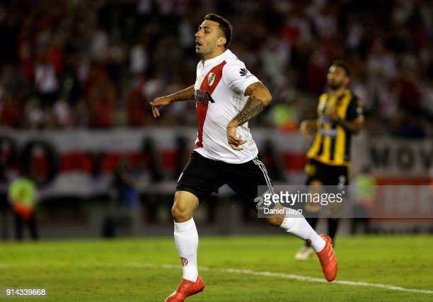 Lucas Pratto of River Plate reacts after missing a chance to score during a match between River Plate and Olimpo as part of Superliga 2017/18 at...