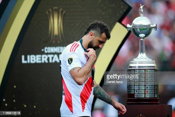 Lucas Pratto of River Plate reacts after receiving the second place after the final match of Copa CONMEBOL Libertadores 2019 between Flamengo and...