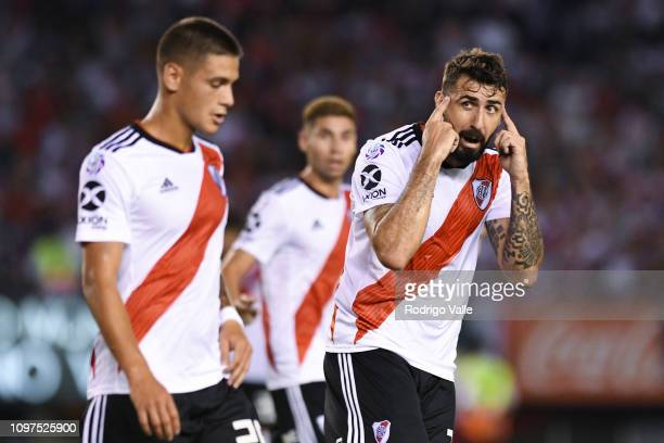 Lucas Pratto of River Plate reacts during a match between River Plate and Racing Club as part of Superliga 2018/19 at Estadio Monumental Antonio...