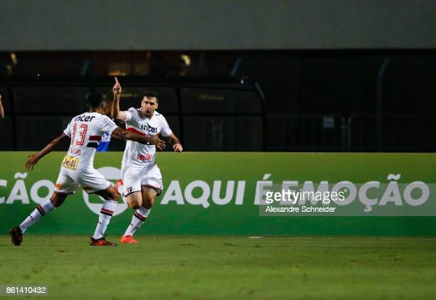 Lucas Pratto of Sao Paulo celebrates after scoring their first goal during the match between Sao Paulo v Atletico PR for the Brasileirao Series A...