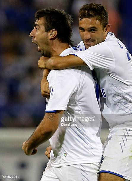 Lucas Pratto of Velez Sarsfield and Agustin Allione celebrate after scoring the third goal against Gimnasia y Esgrima La Plata during a match between...