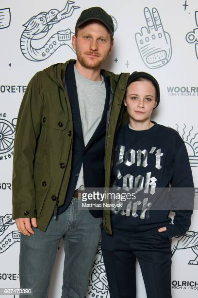 Lucas Prisor and Jasna Fritzi Bauer attend the opening of the 'Good Wibes Bike Bar' to present the new ebike by Woolrich Deus at the Woolrich Store...
