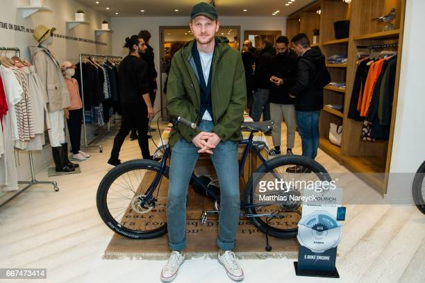 Lucas Prisor attends the opening of the 'Good Wibes Bike Bar' to present the new ebike by Woolrich Deus at the Woolrich Store on April 11 2017 in...