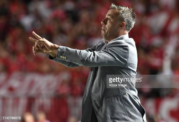 Lucas Pusineri coach of Cali gestures during a match between America de Cali and Deportivo Cali as part of Torneo Apertura Liga Aguila 2019 at...