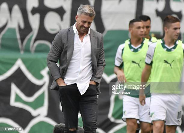 Lucas Pusineri coach of Cali gestures during a match between Deportivo Cali and Millonarios as part of Torneo Apertura Liga Aguila 2019 on March 3...
