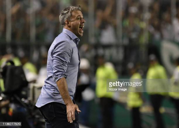 Lucas Pusineri coach of Cali gestures during a match between Deportivo Cali and America de Cali as part of Torneo Apertura Liga Aguila 2019 at...