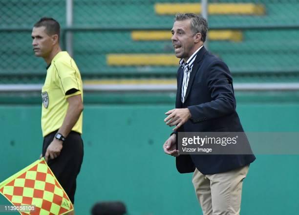 Lucas Pusineri coach of Cali gestures during a match between Deportivo Cali and Cúcuta Deportivo as part of Liga Aguila 2019 at Deportivo Cali...