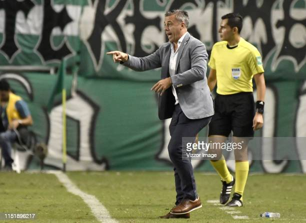 Lucas Pusineri coach of Cali gestures during a match between Deportivo Cali and Atletico Nacional as part of Liga Aguila 2019 at Deportivo Cali...
