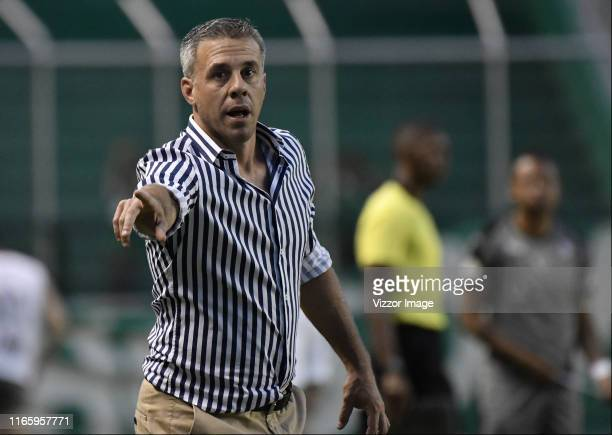 Lucas Pusineri coach of Cali gestures during a match between Deportivo Cali and La Equidad as part of Torneo Clausura Liga Aguila 2019 at Estadio...