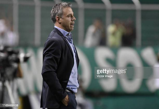 Lucas Pusineri coach of Cali gestures during a match between Deportivo Cali and Atletico Nacional as part of Torneo Clausura Liga Aguila 2019 at...