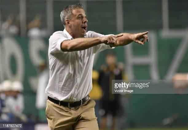 Lucas Pusineri coach of Cali gestures during a match between Deportivo Cali and Independiente Santa Fe as part of Liga Aguila II 2019 at Estadio...