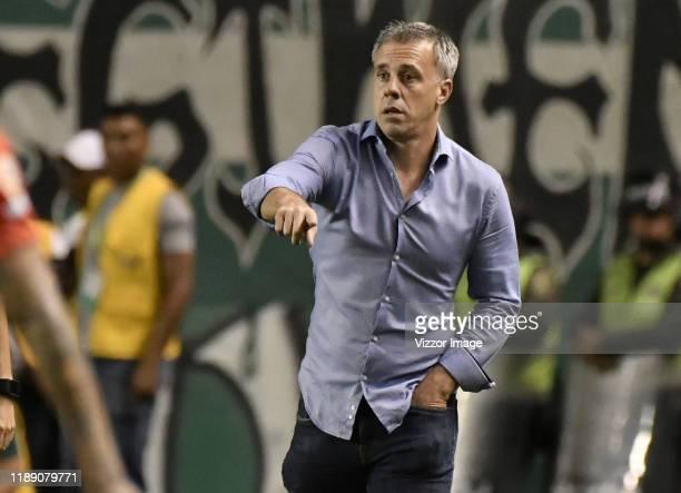 Lucas Pusineri coach of Cali gestures during a match between Deportivo Cali and America de Cali as part of Liga Aguila II 2019 at Estadio Pascual...
