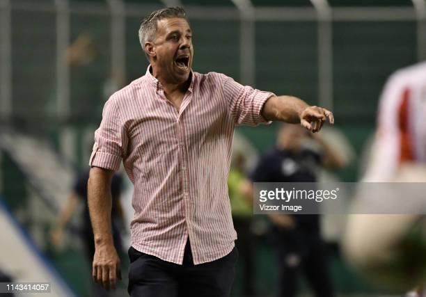 Lucas Pusineri coach of Cali gestures during a match between Deportivo de Cali and Junior as part of Torneo Apertura Liga Aguila 2019 at Estadio...