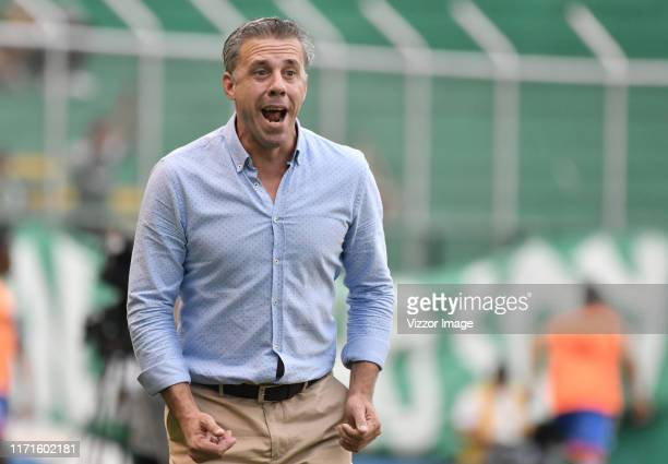 Lucas Pusineri coach of Cali gestures during during a match between Deportivo Cali and Deportivo Pasto as part of Torneo Clausura Liga Aguila 2019 at...