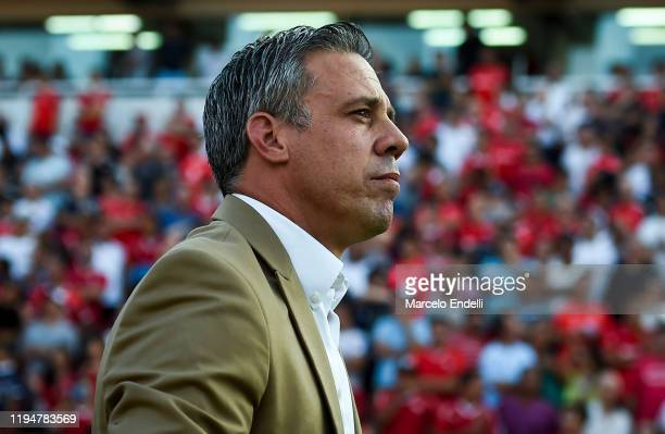 Lucas Pusineri coach of Independiente looks on before a match between Independiente and River Plate as part of Superliga 2019/20 at Estadio...