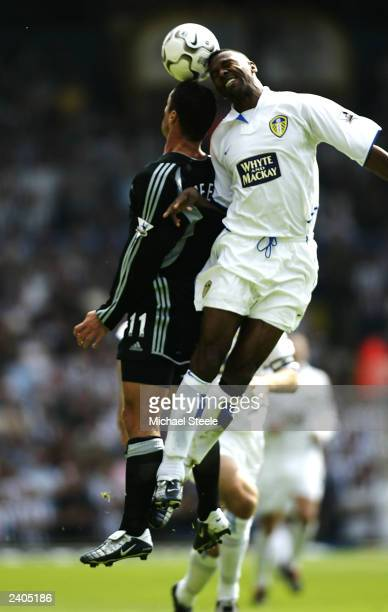 Lucas Radebe of Leeds and Gary Speed of Newcastle jump for the ball during the FA Barclaycard Premiership match between Leeds United and Newcastle...