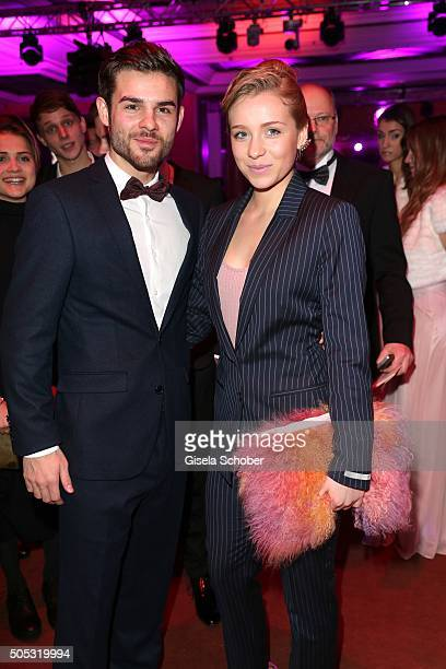 Lucas Reiber and Anna Lena Klenke during the German Film Ball 2016 'New Faces' reception at Hotel Bayerischer Hof on January 16 2016 in Munich Germany