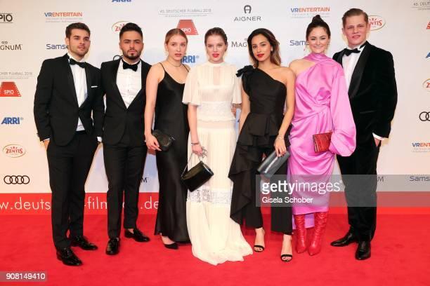 Lucas Reiber Aram Arami Anna Lena Klenke Jella Haase Gizem Emre Lea van Acken Max von der Groeben during the German Film Ball 2018 at Hotel...