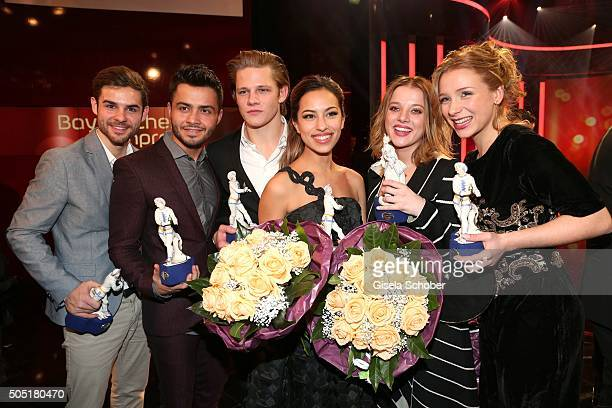 Lucas Reiber, Aram Arami, Max von der Groeben; Gizem Emre, Jella Haase and Anna Lena Klenke with award during the Bavarian Film Award 2016 at...