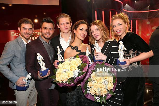 Lucas Reiber Aram Arami Max von der Groeben Gizem Emre Jella Haase and Anna Lena Klenke with award during the Bavarian Film Award 2016 at...