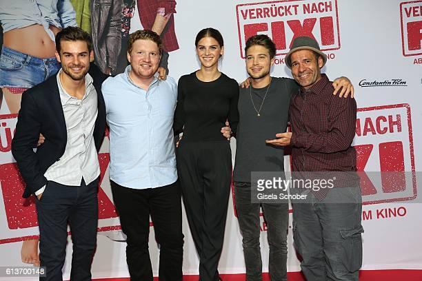 Lucas Reiber , Roland Schreglmann, Lisa Tomaschewsky, Jascha Rust and Director Mike Marzuk during the premiere of the film 'Verrueckt nach Fixi' at...