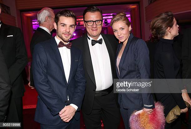 Lucas Reiber Torsten Koch and Anna Lena Klenke during the German Film Ball 2016 'New Faces' reception at Hotel Bayerischer Hof on January 16 2016 in...