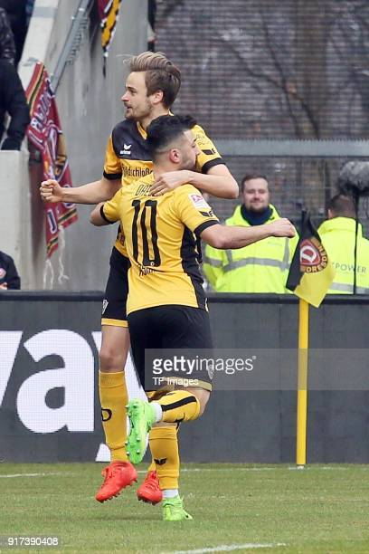 Lucas Roeser of Dresden and Aias Aosman of Dresden gesture during the Second Bundesliga match between SG Dynamo Dresden and VfL Bochum 1848 at...