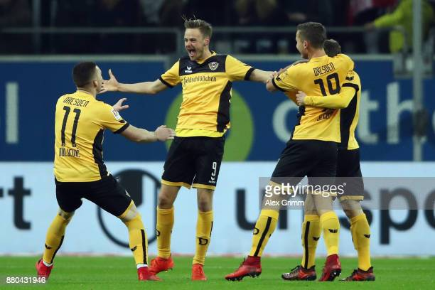 Lucas Roeser of Dresden celebrates his team's second goal during the Second Bundesliga match between Fortuna Duesseldorf and SG Dynamo Dresden at...