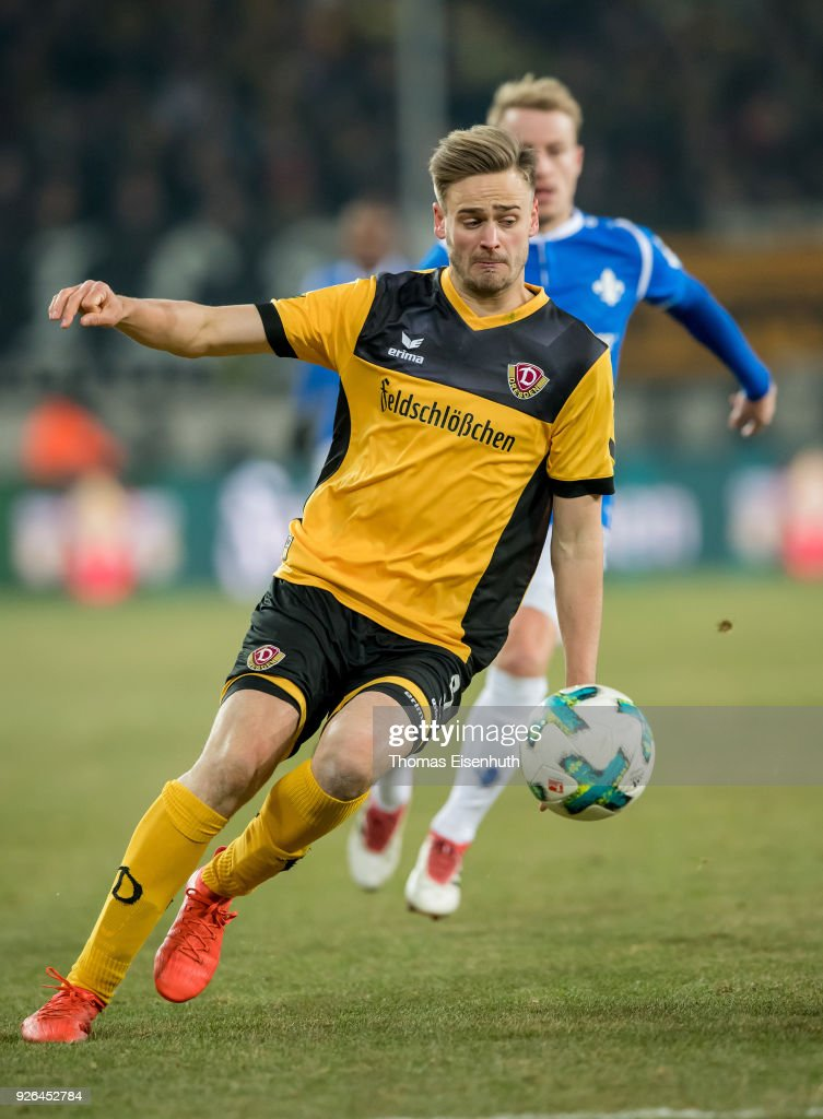Lucas Roeser of Dresden in action during the Second Bundesliga match between SG Dynamo Dresden and SV Darmstadt 98 at DDV-Stadion on March 2, 2018 in Dresden, Germany.