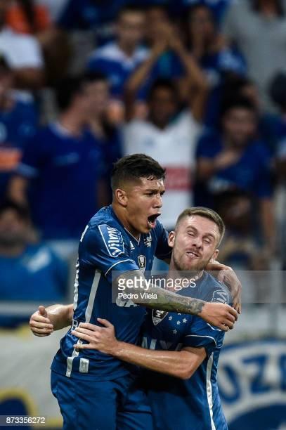 Lucas Romero and Ezequiel of Cruzeiro celebrates a scored goal against Fluminense during a match between Cruzeiro and Fluminense as part of...