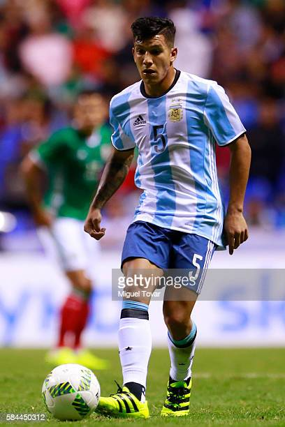 Lucas Romero of Argentina controls the ball during an U23 International Friendly between Mexico and Argentina at Cuauhtemoc Stadium on July 28 2016...