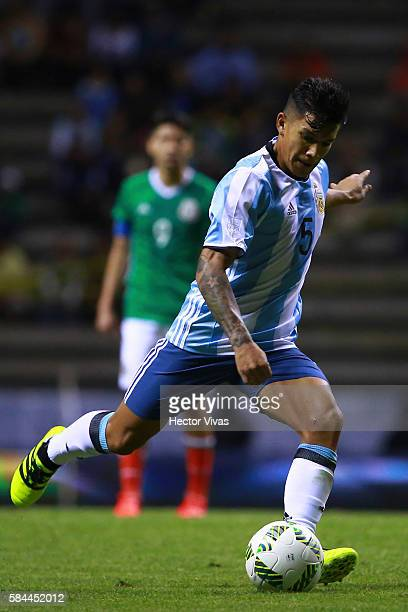 Lucas Romero of Argentina drives the ball during an U23 International Friendly between Mexico and Argentina at Cuauhtemoc Stadium on July 28 2016 in...