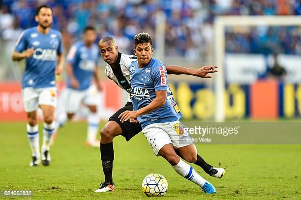 Lucas Romero of Cruzeiro and Copete of Santos battle for the ball during a match between Cruzeiro and Santos as part of Brasileirao Series A 2016 at...