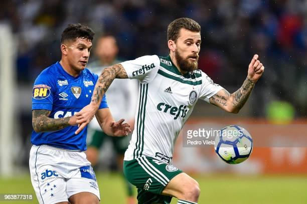 Lucas Romero of Cruzeiro and Lucas Lima of Palmeiras battle for the ball during a match between Cruzeiro and Palmeiras as part of Brasileirao Series...