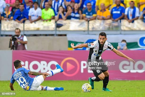 Lucas Romero of Cruzeiro and Maia of Santos battle for the ball during a match between Cruzeiro and Santos as part of Brasileirao Series A 2016 at...