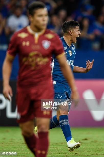 Lucas Romero of Cruzeiro celebrates a scored goal against Fluminense during a match between Cruzeiro and Fluminense as part of Brasileirao Series A...