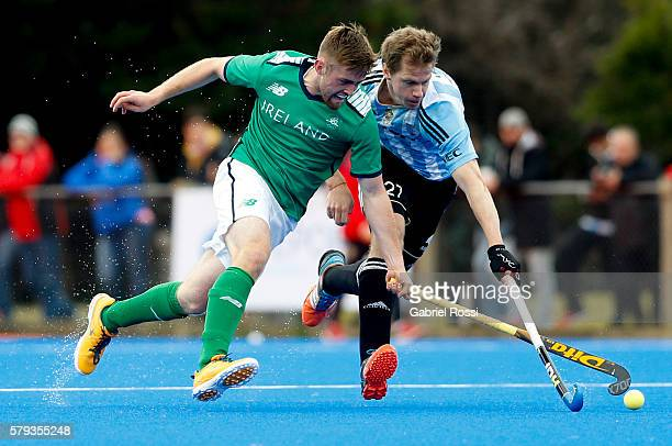 Lucas Rossi of Argentina fights for the ball with Shane O Donoghe of Ireland during an International Friendly match between Argentina and Ireland at...