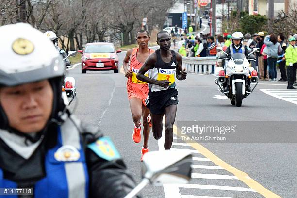 Lucas Rotich of Kenya leads to Alphonce Felix Simbu of Tanzania during the 71st Lake Biwa Mainichi Marathon on March 6 2016 in Otsu Shiga Japan