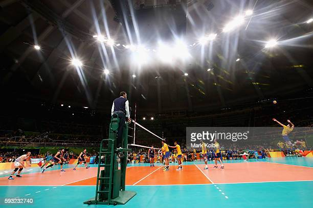 Lucas Saatkamp of Brazil serves during the Men's Gold Medal Match between Italy and Brazil on Day 16 of the Rio 2016 Olympic Games at Maracanazinho...