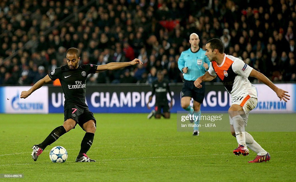 Lucas scores the opening goal for PSG during the UEFA Champions League Group A match between Paris Saint-Germain and FC Shakhtar Donetsk at Parc des Princes on December 8, 2015 in Paris, France.