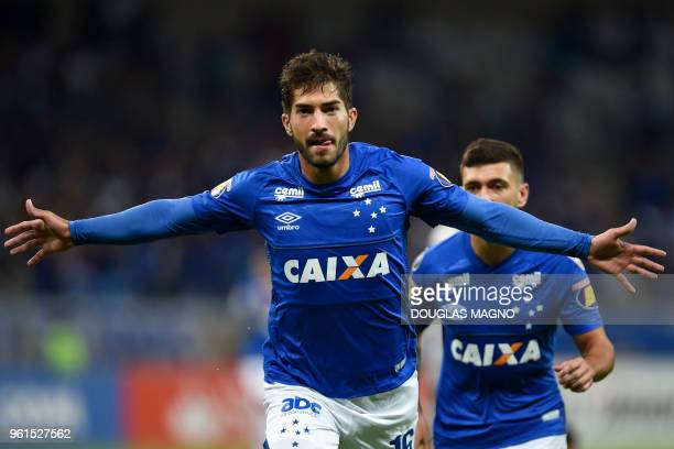 Lucas Silva of Brazil's Cruzeiro celebrates after scoring against Argentina's Racing Club during their Copa Libertadores football match at the...