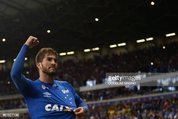 Lucas Silva of Brazil's Cruzeiro celebrates his goal against Argentina's Racing Club during their 2018 Copa Libertadores football match at Mineirao...