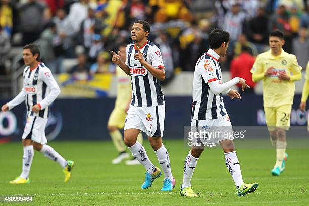 Lucas Silva of Monterrey celebrates after scoring his team's first goal during a friendly match between America and Monterrey at BBVA Compass Stadium...