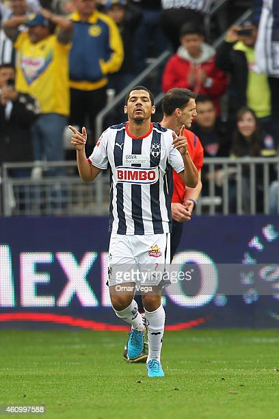 Lucas Silva of Monterrey celebrates after scoring the opening goal during a friendly match between America and Monterrey at BBVA Compass Stadium on...