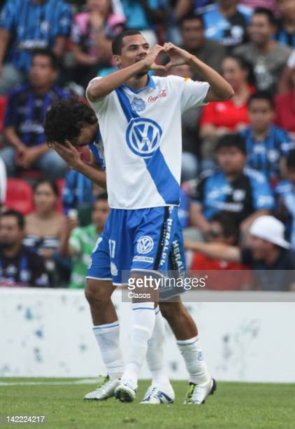 Lucas Silva of Puebla celebrate a goal against Queretaro during a match between Queretaro vs Puebla as part of Torneo Clausura 2012at Corregidora...